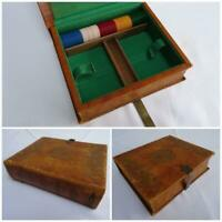 Vintage Playing Card Box Tooled Leather Book Form Lucite Gaming Counters Chips