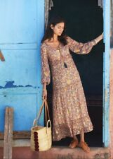 Sézane Annae Silk Maxi Dress Pink & Green Cashmere Print Size EUR 38 UK 10