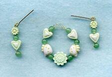 Barbie Doll Jewelry - Jade Green Hearts & Flowers Necklace & Earrings Set
