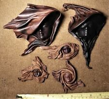 Lot of 5. Leather Masks. Hand Crafted. Wall Art Decorative Argentina.Pampas.