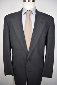 Corbin Solid Dark Gray Worsted Wool Two Button Two Piece Suit Size: 44L