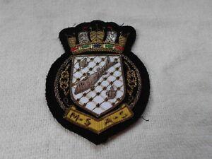 RNPS ROYAL NAVAL PATROL SERVICE GOLD WIREWORK EMBROIDERED CLOTH BLAZER BADGE