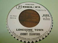 johnny CRAWFORD rare LONESOME TOWN 45 NEAR MINT WHITE LABEL PROMO STUNNING