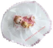 PINK BABY GIRLS 1ST BIRTHDAY OR CHRISTENING CAKE TOPPER DECORATION DESIGN G3