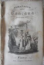 """LIBRO ANTICO BROSSURE """"ALMANACCO DELLA TOSCANA"""" 1833"""
