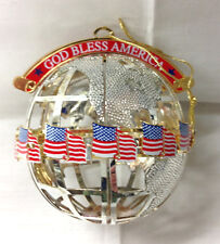 "WALLACE ""GOD BLESS AMERICA"" 2 3/4"" GLOBE CHRISTMAS ORNAMENT 2001 MADE IN U.S.A."