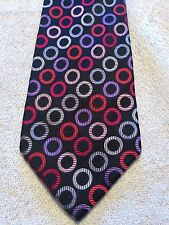 THE TIE BAR MENS TIE BLACK WITH RED PURPLE AND SILVER CIRCLE 4 X 62