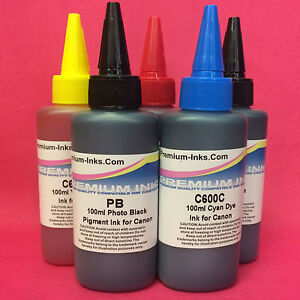 5X100ML PIGMENT AND DYE INK BOTTLES FOR CANON PIXMA MG7150 IP7250 MX725 MX925