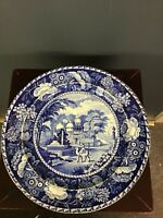 ANTIQUE J. HALL BLUE WHITE STAFFORDSHIRE POTTERY PLATE MAHOMEDAN MOSQUE TOMB
