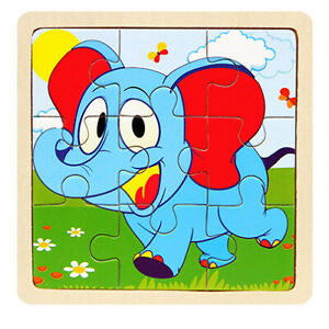 Wooden 3D Cartoon Puzzle Jigsaw for Children Kids Cartoon Animal/traffic Puzzles