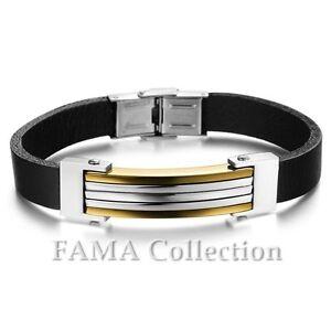 Stylish FAMA Black Leather Strap Bracelet with 2 Tone ID Plate Gold IP