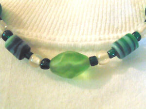 Artisan Beaded Necklace Green & White Single Strand Costume Jewelry Gift For Her