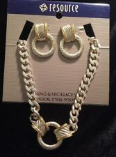Gorgeous Two Tone Gold & Silver Earring & Necklace Set Hoop Elegant Classy NWT
