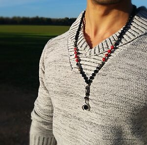 Men Long Beads Necklace With Crystal Pendant, Mala Chain. Gift For Men