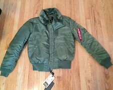 Alpha Industries b-15 Flight Bomber Jacket, Size M Slim Fit, Green, Military