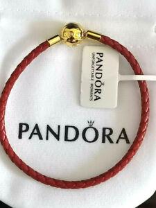 Authentic PANDORA Shine 18K Lucky Red Leather Charm Bracelet 568777C01 19cm