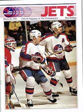 1989 Winnipeg Jets Home vs Buffalo Sabres NHL Hockey Program #135