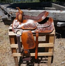 "15"" CLASSIC TOOLED WESTERN BARREL RODEO SHOW HORSE TRAIL LEATHER  SADDLE TACK"