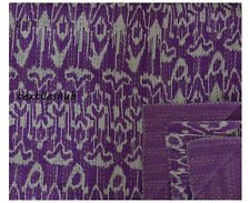 Purple Ikat Queen Size Kantha Quilt Cotton Reversible Bed Cover Blanket Throw