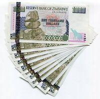 Zimbabwe 1000 Dollars 2003 Unc Banknote Money X 10 Consecutive Note Lot - P12