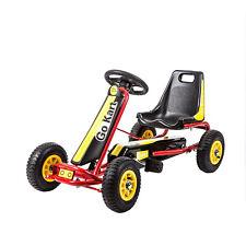 New listing Kids 4 Wheels Pedal Go kart Racer Outdoor Ride on Rubber Wheels Car for Boys