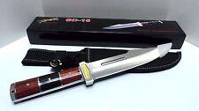 Knife, Hunting Sd-16, Ss Blade, W/Sheath, Ss Bolster, Wood Handle, 12 Inch Long