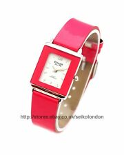 Omax Ladies White Dial Watch in Pink, Silver Finish, Seiko Movt RRP £49.99