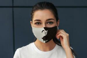 Cute Funny 'Ying Yang' Black White Cat Animal Lover Face Mask