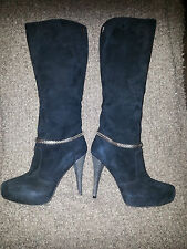 MISS SIXTY-Black Suede Stiletto Platform Boots w/Silver Chains-Super Sexy-Sz 37