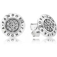 NEW GENUINE PANDORA SILVER SIGNATURE STUD ROUND EARRINGS 290559CZ S925 UK GIFT