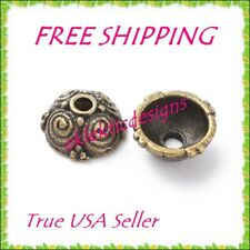 8mm 10pc Antique Bronze Plated Alloy Tibetan Style Dome Swirl Bead Caps FREESHIP