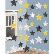6pk Dorado y Negro, Estrella de Plata Cadena Decoración 2m Celebración Fiesta