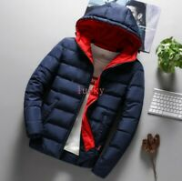 Winter Mens Loose Warm Puffer Cotton Down Coat Hooded Thicken Slim Fit Jacket