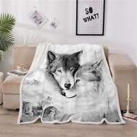 Wolf Throw Blanket 3D Animal Bedspread Fleece Sherpa Blanket Soft Warm 150x200cm
