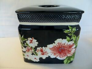 CROSCILL NARA  Cobalt Blue with Pink Florals TISSUE BOX Cover / Holder