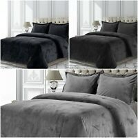 Grey Crushed Velvet Duvet Cover Set Single Double King Super King With Pillows