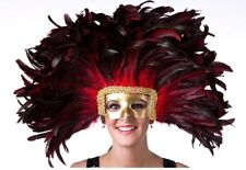 Red Coque Feather Showgirl Las Vegas Headdress Gold Mask Costume Accessory Prop