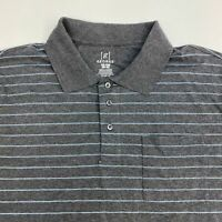 George Polo Shirt Men's Size 2XL XXL Short Sleeve Gray Blue Striped Chest Pocket