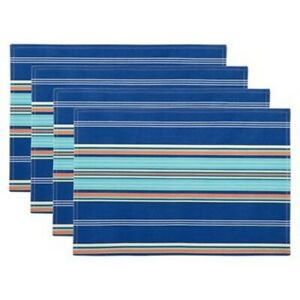 Waverly Blue Striped Placemats Set of 4 Indoor Outdoor Beach Summer House