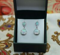 Vintage Jewellery Sterling Silver Opal Earrings Antique Art Deco Dress Jewelry