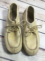 Vintage Womens Size 7? Yellow Oxford Leather Lace Up Shoes Round Toe Casual Wear