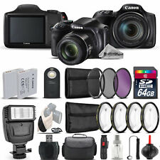 Canon PowerShot SX540 HS Digital Camera+ Flash + 7PC Filter + EXT BAT - 64GB Kit