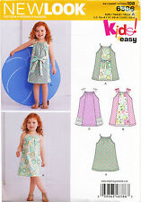 NEW LOOK SEWING PATTERN 6386 TODDLERS/GIRLS SZ ½-4 EASY PILLOWCASE STYLE DRESSES