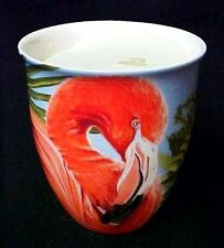 Flamingo Crock Candle Tropical Palm Holder Pina Colada Scent Cape Shores New