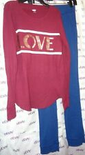 $39 girls 2pc Old Navy thermo blouse XL 14 Long sleeve OshKosh blue sweat pants
