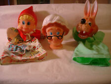 Vintage Famosa Little Red Riding Hood Grandma & the Wolf Hand Finger Puppets Set