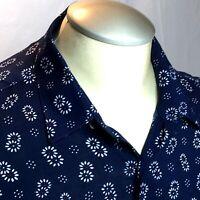 Zara Man Mens Shirt L Blue Floral Slim Fit Button Up Long Sleeve