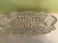 """Vintage leaded crystal cut glass clear with frosted flower 7"""" X 4"""""""