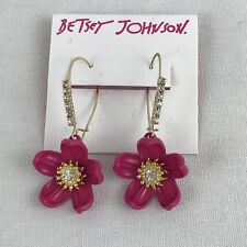 Betsey Johnson Tropical Punch Earrings Pink Flower