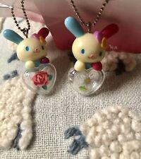 RARE !! 2 Sanrio Usahana Charms With Heart Flower Promise Edition 2003 Vintage
